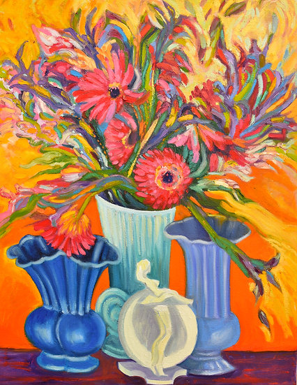 Three Blue Vases with Flowers
