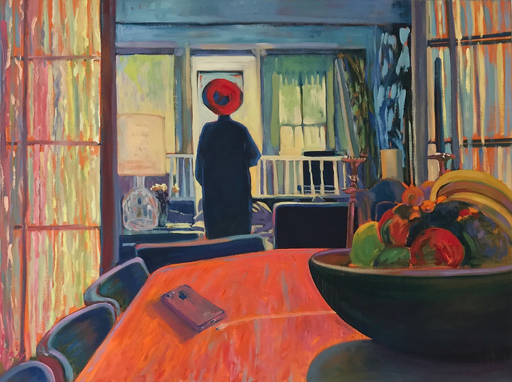 Woman with red hat meditates in light filled room|unplugged from technology| painting