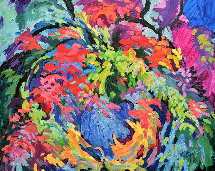 thick textured multi color oil painting of flowers blowing in the garden