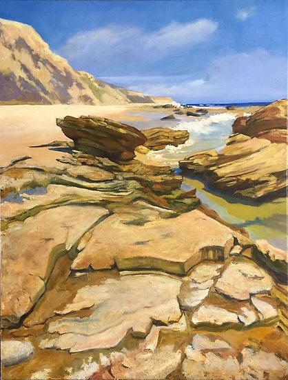 Crystal Cove Rocks by Bebe Landers, oil painting large, sand, rocks, tide pools, Laguna Beach, Crystal Cove, dynamic