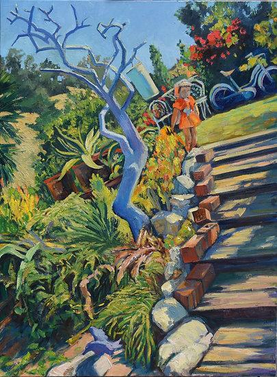 Painted blue lemon tree in fantasy succulent garden, oil painting, Bebe Landers