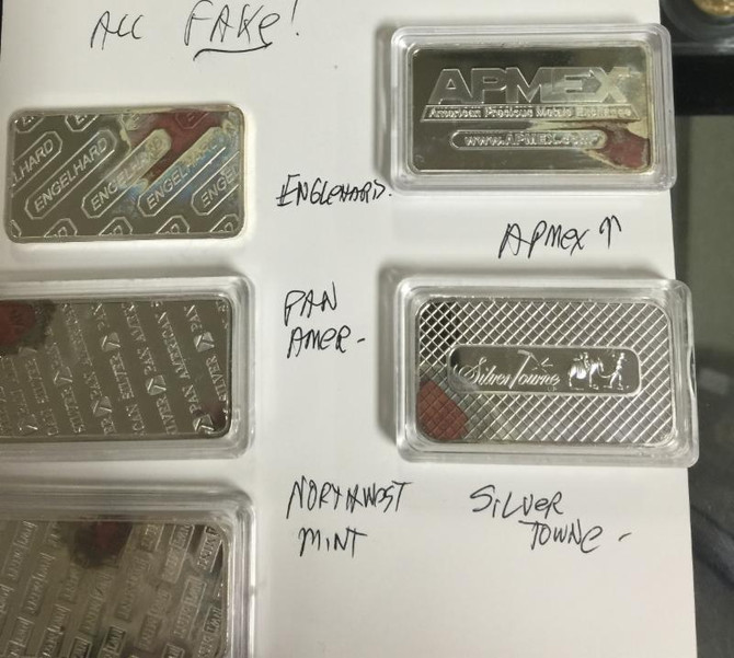 Fake One Ounce Silver bars
