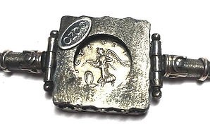Reverse of the hand made silver bracelett with Roman Coin
