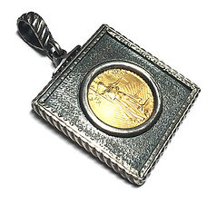 Hand Made Pure silver Bezel with $5.00 us gold coin