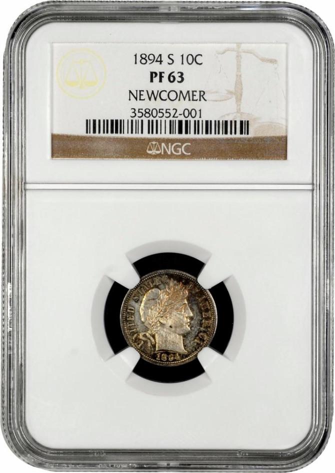 """""""Alert"""" Rare 1894S Barber Dime PF 63 NGC -Stolen- Durango, Colorado"""