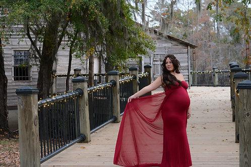Rental: Burgundy Dress with Waist Cape