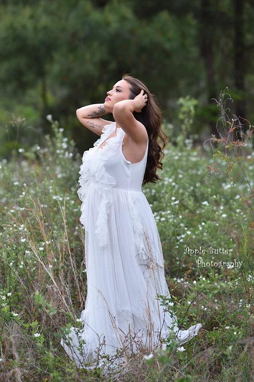 Rental: White Ruffles & Tulle Dress