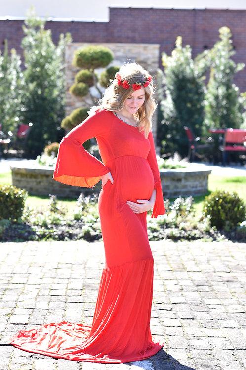 Rental: Red Bell Sleeved Dress