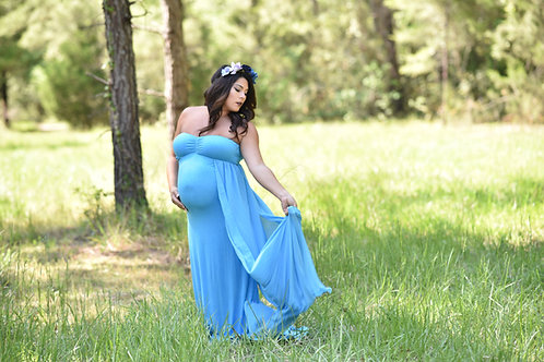 Rental: Candy Blue Dress With Waist Train