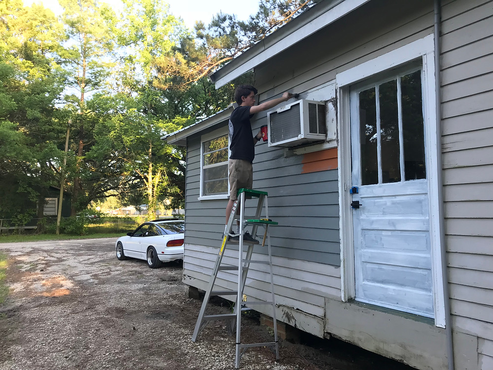 My son putting some time in on the exterior.