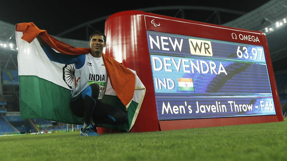 Indian Paralympic javelin thrower Devendra Jhajharia at the 2016 Rio Paralympics, after winning his 2nd ever Paralympic Gold for the country.
