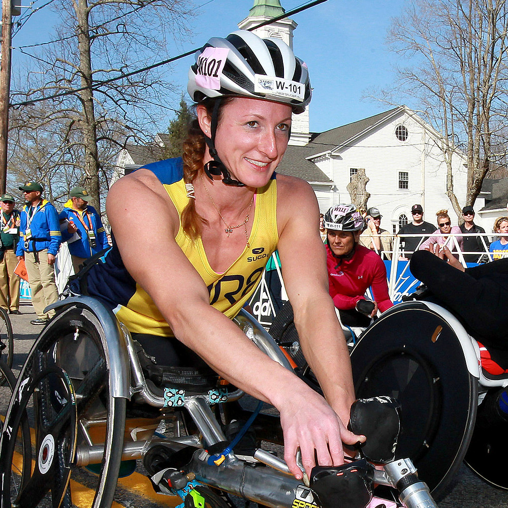 Paralympic champion Tatyana McFadden waiting for the start (source: baa.org)