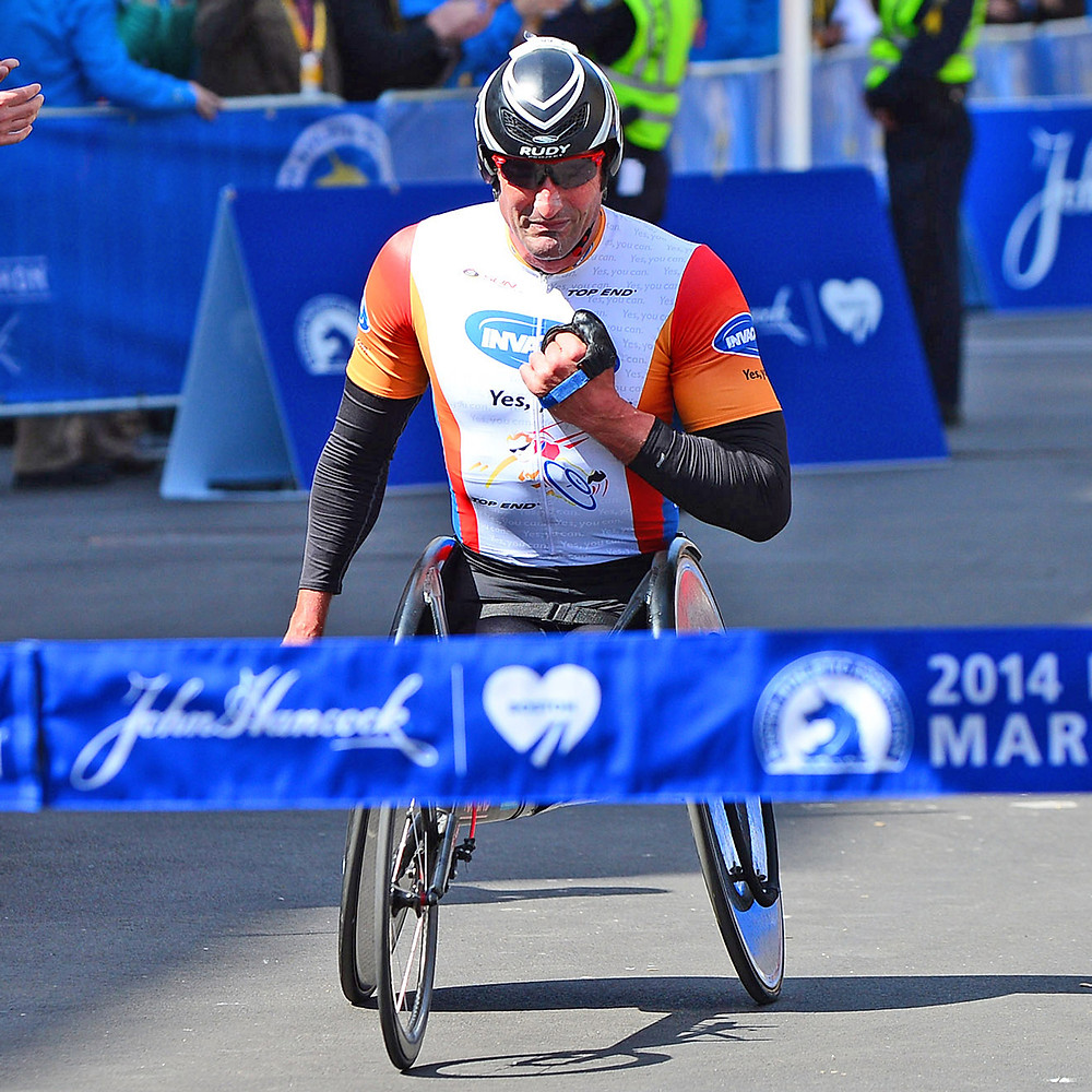 Paralympic Champion Ernst van Dyck just before crossing the ribbon at the Boston Marathon. Parasports World provides parasports news, paralympic sports entertainment and disability sports community. Find great sports and inspiring athletes from the Paralympic Games, the Invictus Games and parasports championships.
