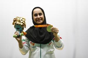 Asian Para Games I Paralympian Sareh Javanmardi posing with her gold medal I Parasports World