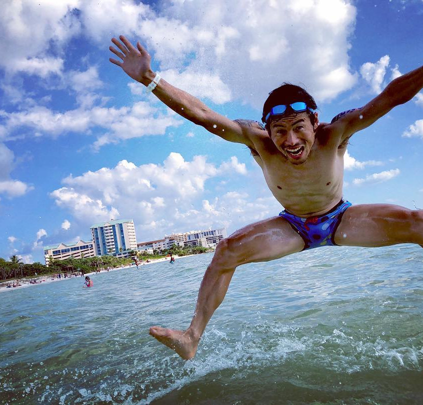 Keiichi Sato recovers from his podium place winning effort with a dip in the Sarasota Bay   Instagram: @ke11ch1sat0