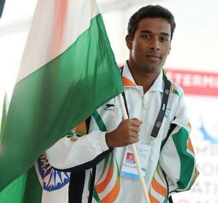 Indian Paralympic swimmer Sharath Gayakwad.