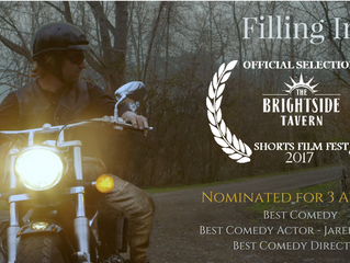 "3 Noms at Brightside Tavern Short Film Fest for ""Filling In'"