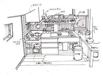 アトリエ樫の台所のスケッチ。こちらは我が家の台所です。台所のキャビネットはシナランバーで作っています。右手に見えるのは、OMのハンドリングBOX。