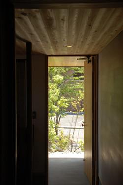 玄関ドアの向こうに広がる木々の緑