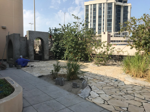 A new garden ready for the addition of mosaic artwork.
