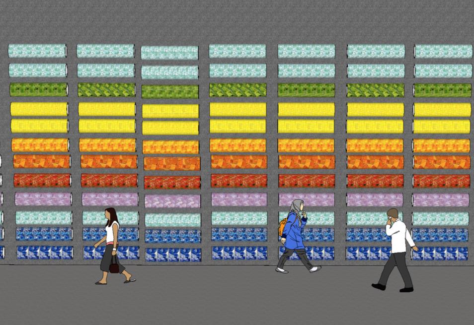 Wall of hanging mosaic tubes
