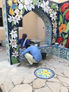 Floral and geometric designs are created in our studio and brought to site for installation.