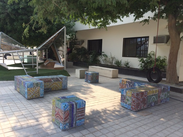 Mosaic benches in Adliya
