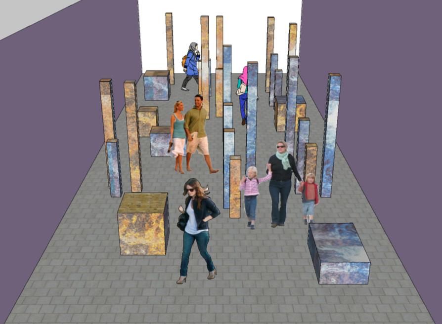 Pedestrian area with pillars & cubes