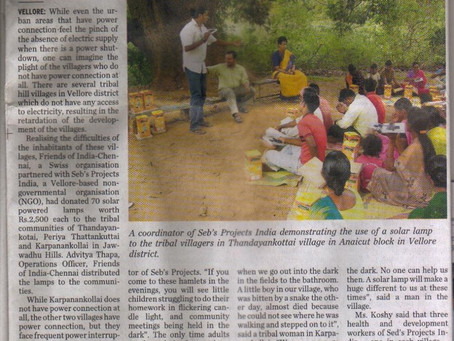 The Sebastian Hunter Memorial Trust projects published in Indian National Newspaper, the Hindu