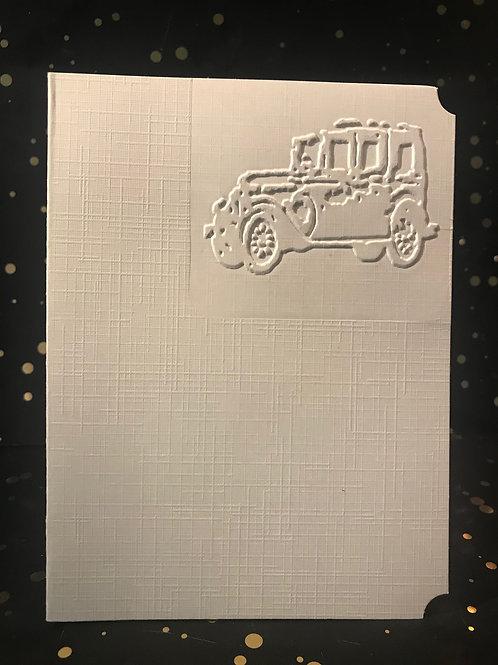 Vintage Car Design - Hand embossed card.