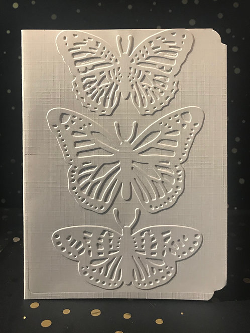Butterfly Trio - Hand embossed card.