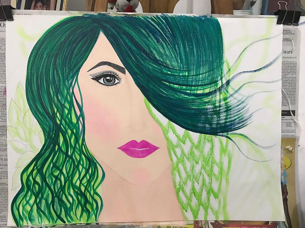 "Acrylic Painting - Shading process of ""Hope II"" by Leeza A. Harris."