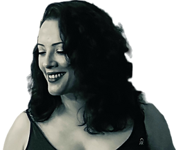 A black & white photograph of Leeza A. Harris, Artist and Events Expert