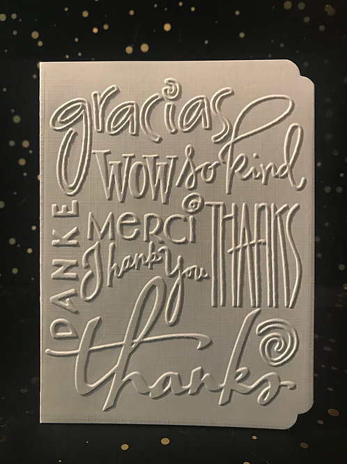 Thank you - Hand embossed card.