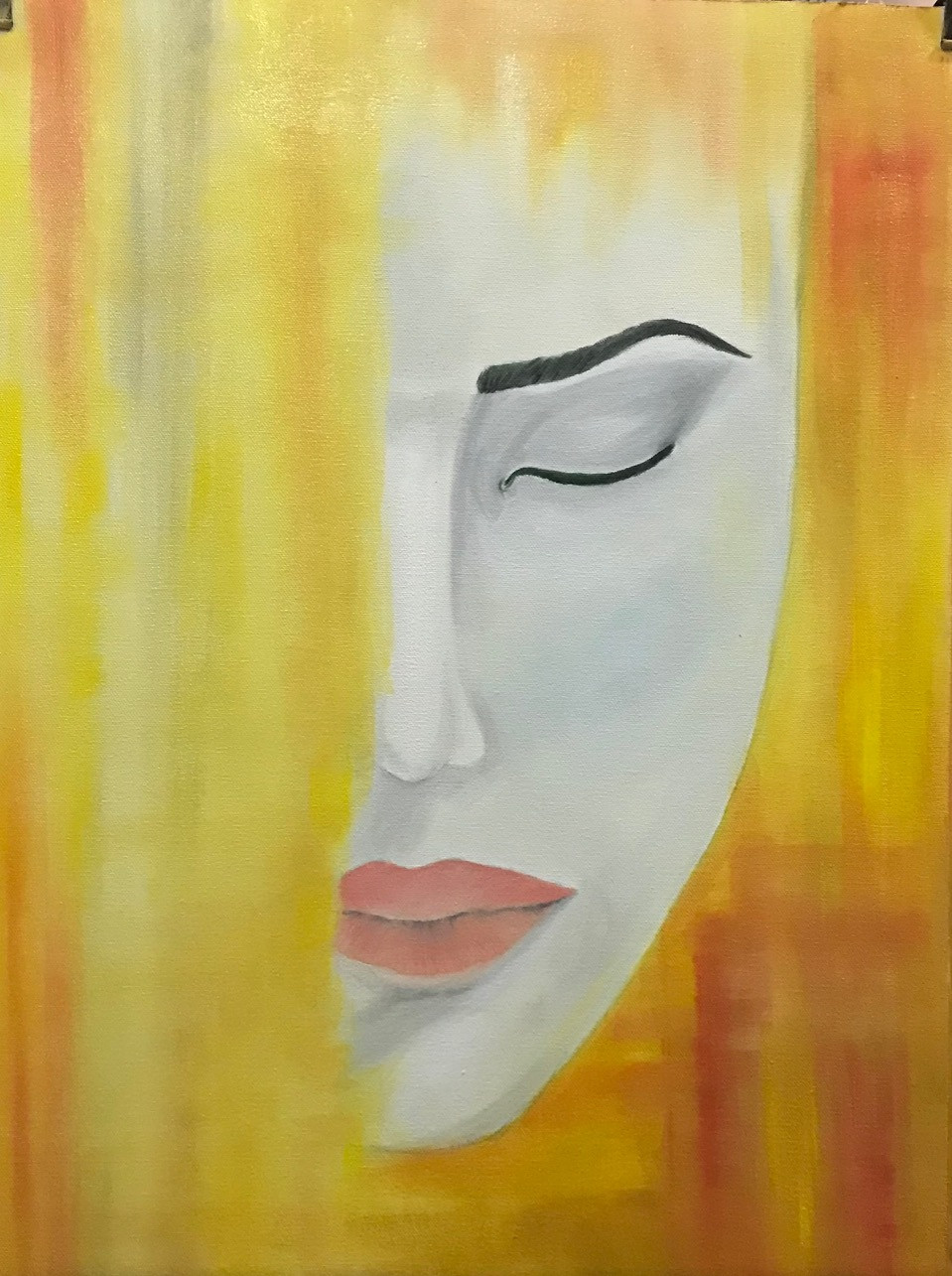 """Oil 80% complete Painting process of """"Awake"""" by Leeza A. Harris."""