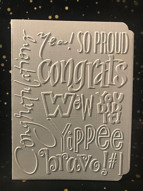 Congratulations - Hand embossed card.