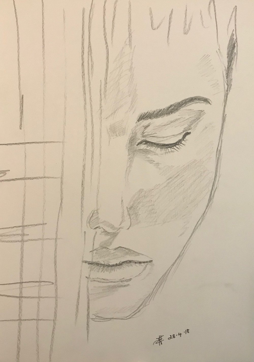 Pencil Sketch of a girl's face by Leeza A. Harris