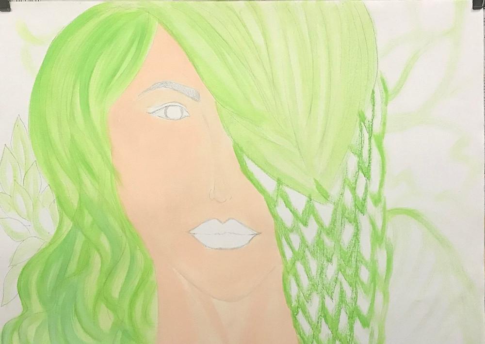 "Acrylic Painting process, step 1 of ""Hope II"" by Leeza A. Harris."