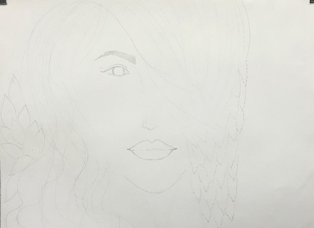 """Initial Sketch of """"Hope II"""" by Leeza A. Harris."""