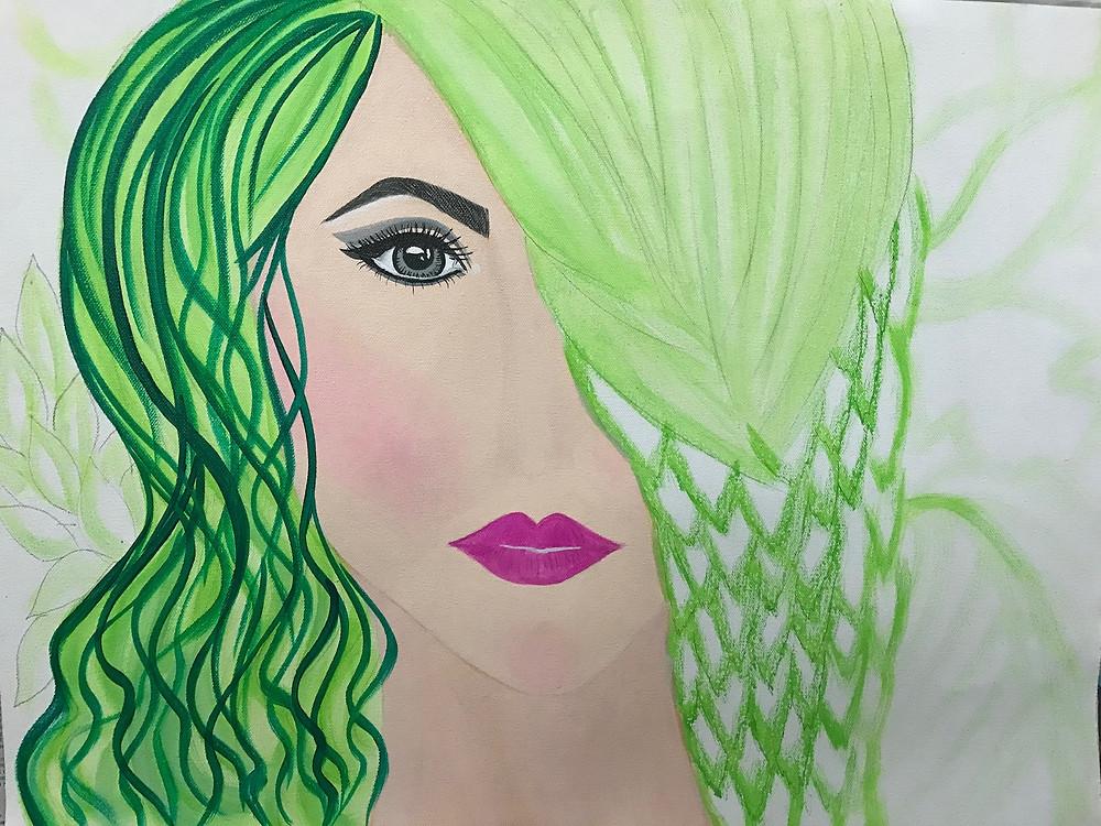 "Acrylic Painting process of ""Hope II"" by Leeza A. Harris."