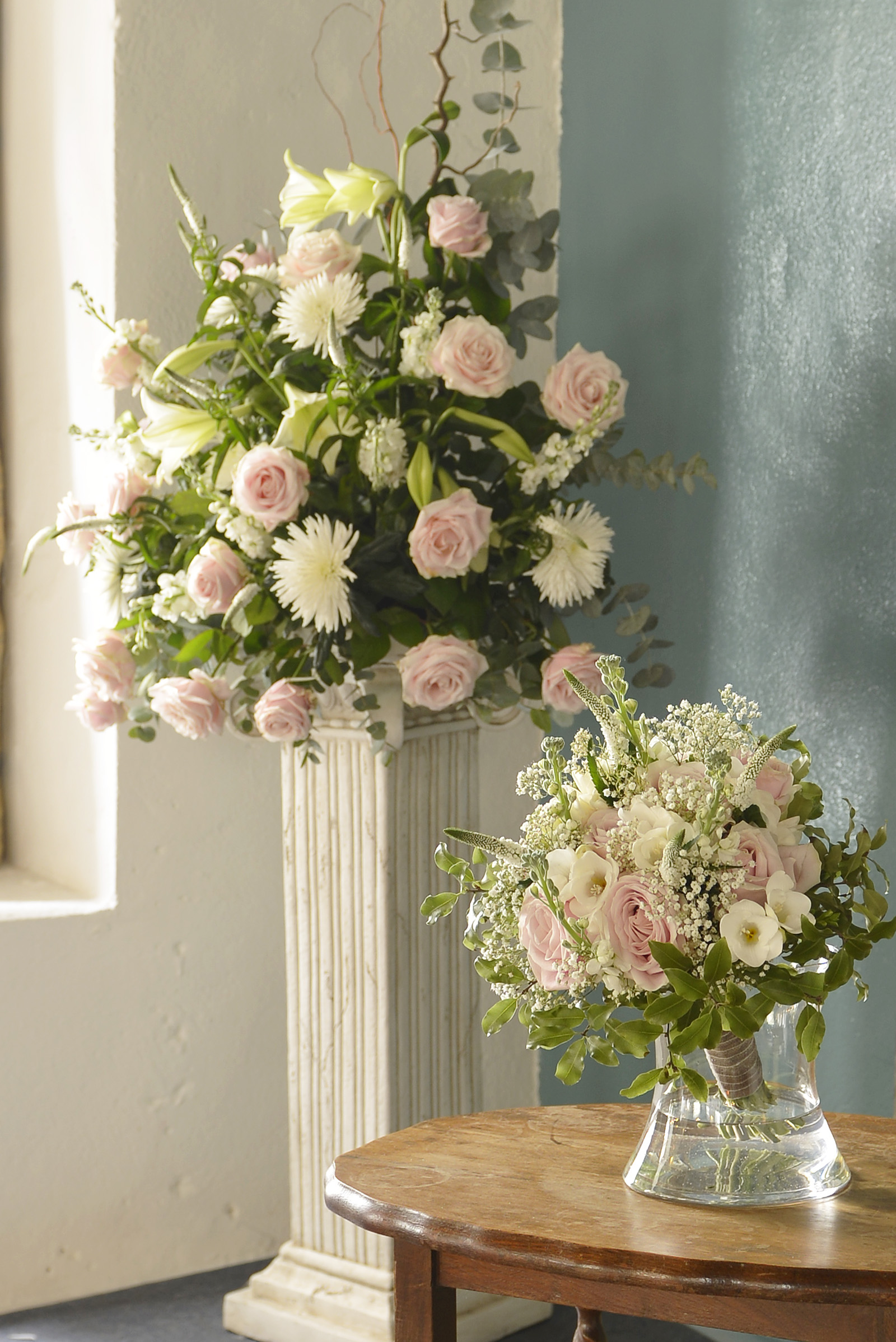 Bridal Bouquet and Flower Pedestal