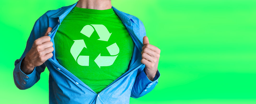Man chest green superhero of recycling R