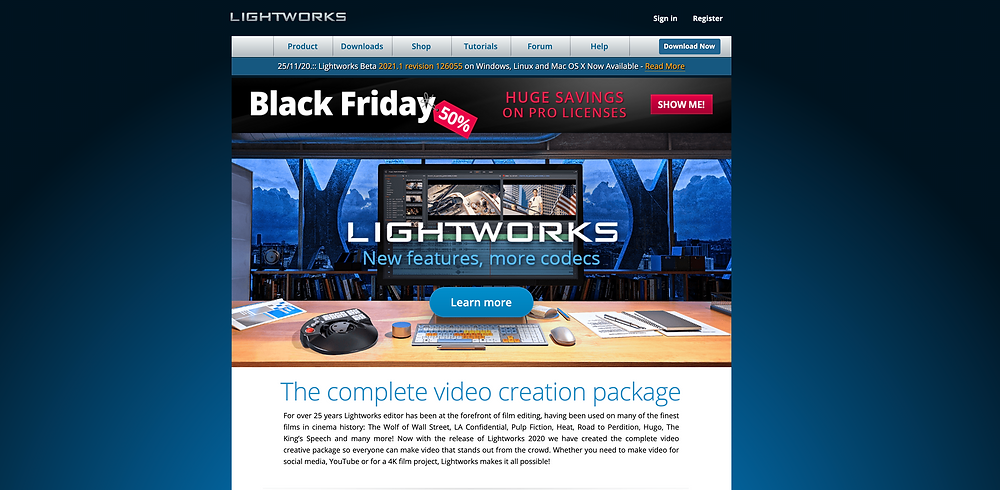 Screenshot of the lightworks editing software homepage