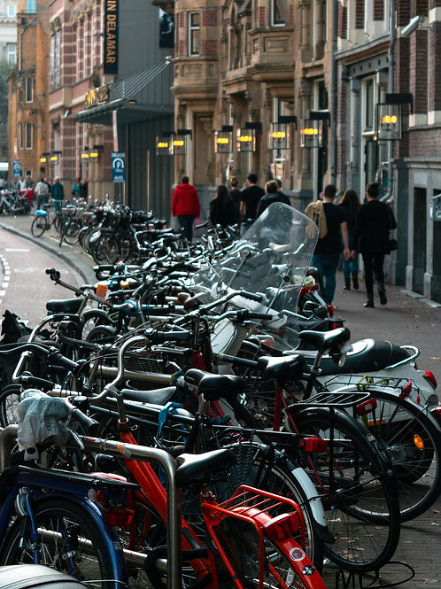 Bicycles parked in Amsterdam