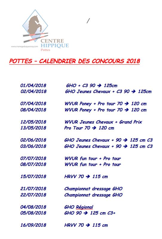 calendrier des concours manège du quesnoy pottes