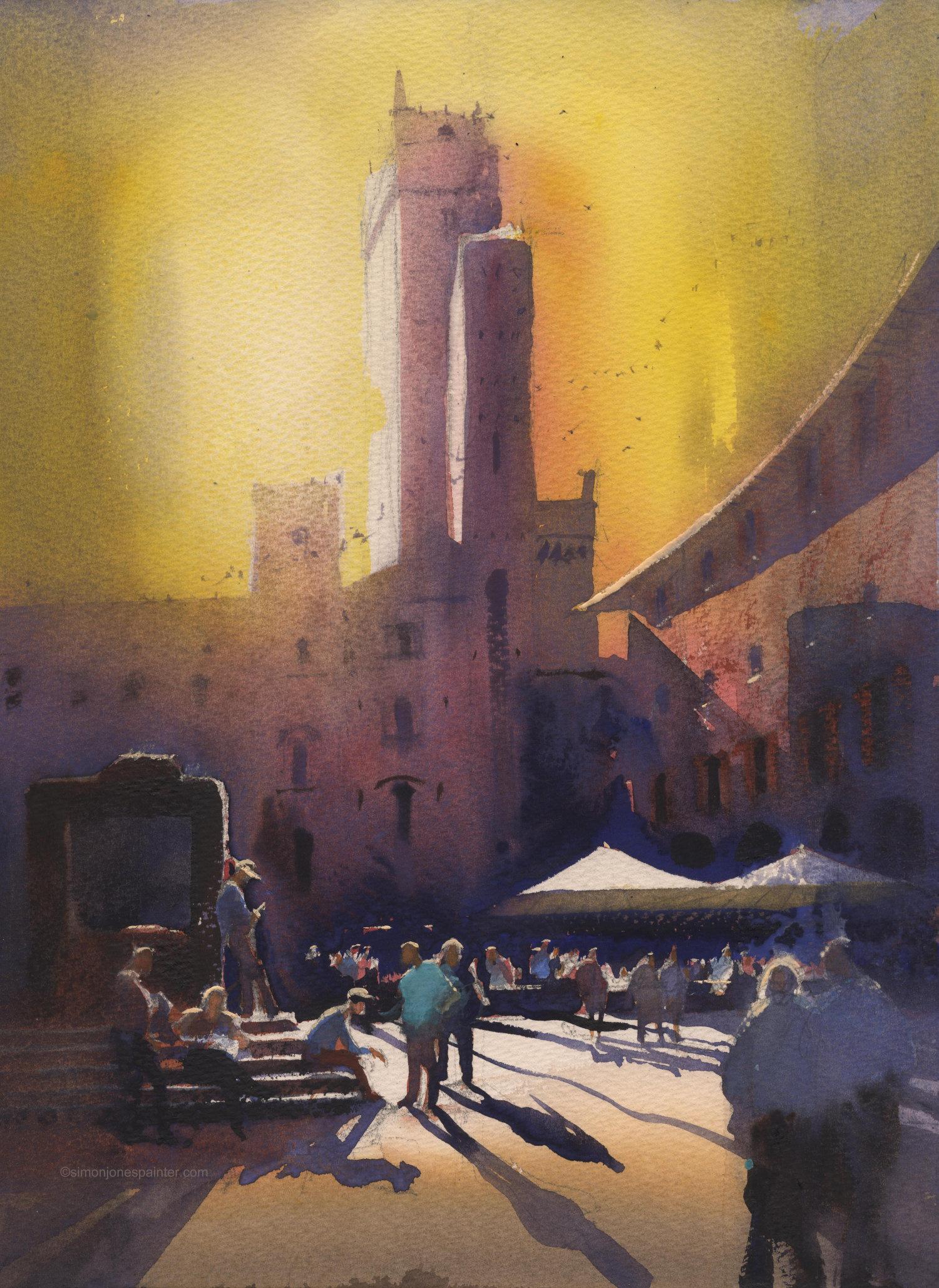 181 Midday san Gimignano signed print