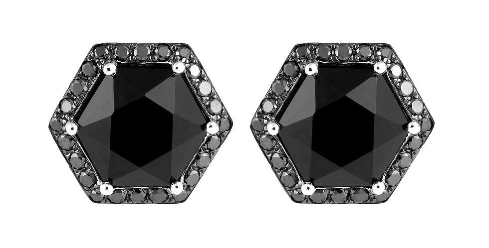 Hex Earrings (Onyx & Black Diamond)
