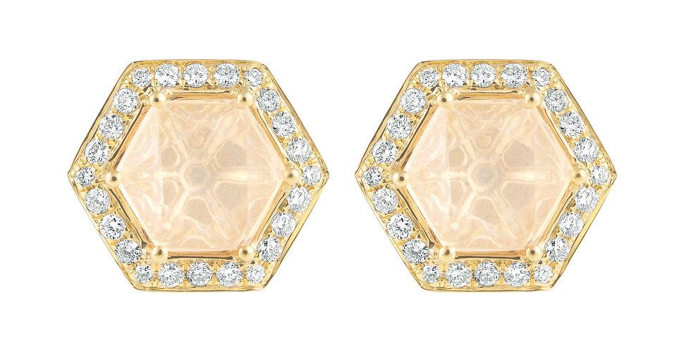 Hex Earrings (Rose Quartz & Diamond)