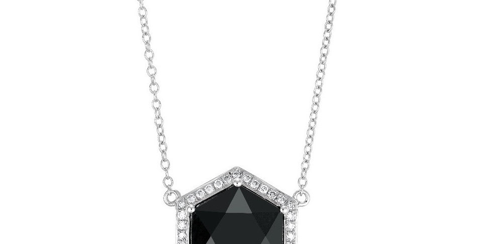 Hex pendant necklace (black onyx and diamonds)