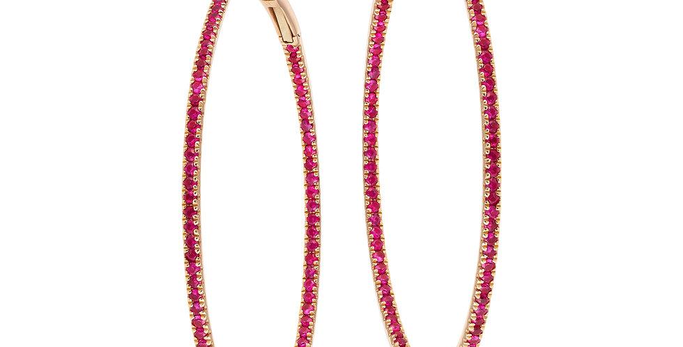 Helix Slim-line Hoop Earrings (Ruby)